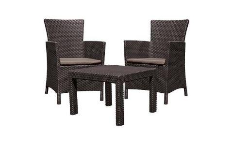 Set terasový Allibert ROSARIO, brown/warm taupe, stôl, 2x kreslo