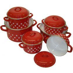 Metalac hrncová súprava , červená bodkovaná 12 dielna