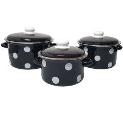 Metalac hrncová súprava čierne- biele bodky, 6 dielna