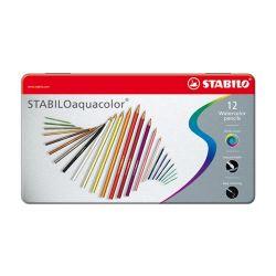 Pastelky stabilo aquacolor, metal box 12ks