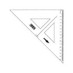 Pravítko trojuholník s ryskou 16 cm, transparentné voľne balené