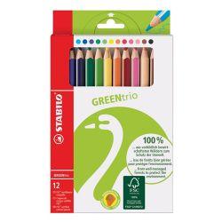 Pastelky trojhranné stabilo green trio 12 ks