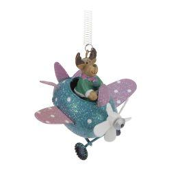 Vianočná dekorácia závesná - lietadlo na pružine 8 cm, 1ks