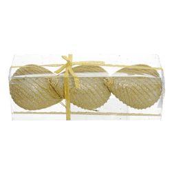 Vianočné ozdoby - ps zlaté s korálkami 10,5 cm, set 3ks
