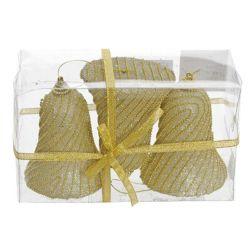Vianočné ozdoby - ps zlaté zvončeky s korálkami 10 cm, set 3ks