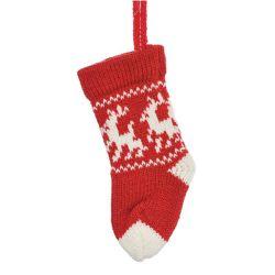 Vianočná ozdoba - štrikovaná červeno/biela ponožka 17 cm, 1ks