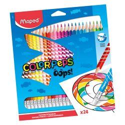"Pastelky trojhranné maped ""color'peps oops"" s gumou sada 24 ks"