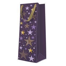 Darčeková taška paw premium starlit christmas, bottle - 12x37x10 cm