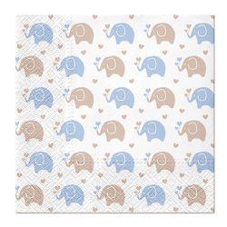 Obrúsky paw l 33x33cm baby elephants blue
