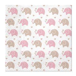 Obrúsky paw l 33x33cm baby elephants pink