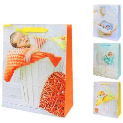 """Darčeková taška, baby/glitter """"m"""" (32x26x10 cm) - mix 4 dizajny"""