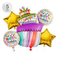 Balóny - happy birthday, sada 5 ks, 4 ks/45 cm | 1 ks/54x103 cm