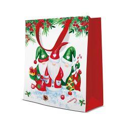 Darčeková taška paw christmas gnomes, medium - 20x25x10 cm