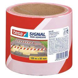 Paska tesa® SIGNAL, 80 mm, červená/biela, L-100 m