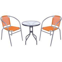 Set balkónový BRENDA, oranžový, stôl biely 72x59 cm, 2x stolička 60x71 cm