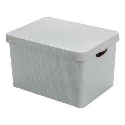 Box Curver® DECO STOCKHOLM L, Grey/dots, 40x25x30 cm