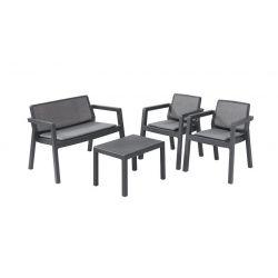 Set terasový Allibert EMILY, graphite, stôl, 2x kreslo, 1x dvojkreslo, podušky