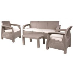 Set terasový BAHAMA, Antracit sivá, stôl, kreslo 3+1+1