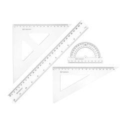 STINGRAY Sada pravítek s úhloměrem, 4 ks, transparentní