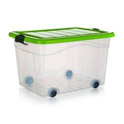 BRILANZ Box úložný na kolečkách PYRAMIDA 100 l, zelený