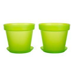 Sada květník + podmiska plastová 4-dílná Patio Soft zelená