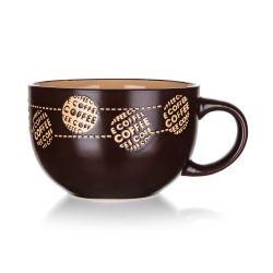 BANQUET Hrnek keramický jumbo COFFE 660 ml, hnědý