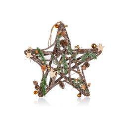 Hvězda vánoční závěsná 35 cm, hnědo-zlatá