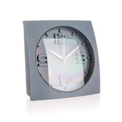 HOME DECOR Budík 15 x 15 x 5,7 cm, šedý
