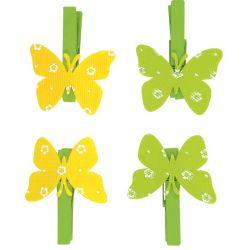 Dekoratívne štipce s motýľom 4cm/4ks