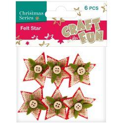 Vianočné dekorácie z filcu hviezda 6ks