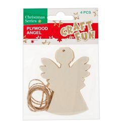 Vianočná ozdoba Drevený anjel na zavesenie 4ks