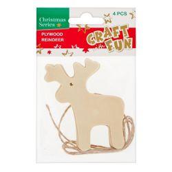 Vianočná dekorácia Drevený sob na zavesenie 4ks