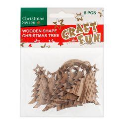 Vianočná dekorácia Drevený stromček na zavesenie 8ks